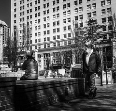Observations (TMimages PDX) Tags: iphoneography photography image photo photograph streetscene fineartphotography geotagged people urban city street streetphotography portland pacificnorthwest sidewalk pedestrians buildings avenue road blackandwhite monochrome vignette