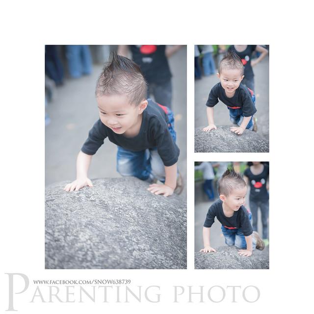 原本小赫想要媽媽抱他上石頭... 但他看著旁邊的小哥哥 突然有模有樣地學起來 就自己爬上去了呢 !