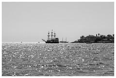Side - ship b&w (Romeodesign) Tags: sea bw holiday turkey mediterranean riviera ship side urlaub trkiye trkei shore peninsula turkish 550d pamphylian