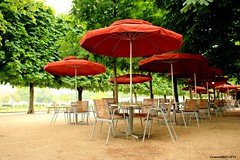 Morning in the Jardin des Tuileries (Yolanda Miel) Tags: morning red paris france museum spring louvre empty terrasse muse parasol tuileries jardindestuileries musedulouvre louvremuseum tuileriesgarden yolandamiel