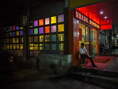 China Nights - 2739 (Michael Steverson) Tags: china street red urban man color night asian restaurant asia chinese chinadigitaltimes multicolor