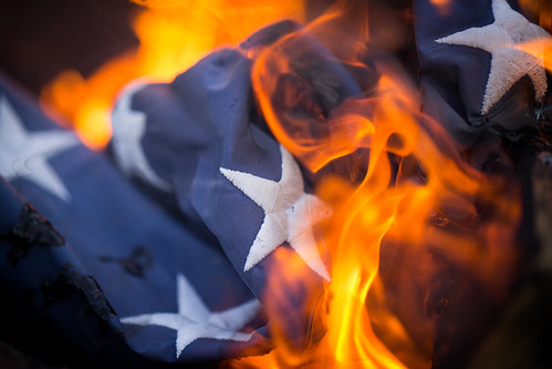 From flickr.com: Burning US Flag {MID-167461}