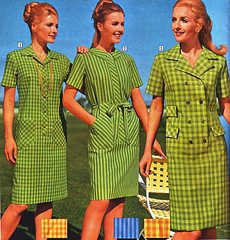 sears 69 fw green dresses (jsbuttons) Tags: 1969 clothing mod 60s buttons sears womens clothes catalog 69 sixties vintagefashion