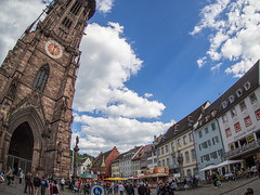 leaning tower (9mm) (Mike.Mayer) Tags: germany lens body olympus fisheye cape freiburg mnster marktplatz omd 9mm em10 olympus9mmfisheyebodylenscap