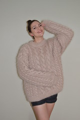 Luckyreda fashion mohair sweater (Mytwist) Tags: winter woman wool fashion female fetish vintage fisherman knitting warm traditional handknit mohair jumper knitted unisex lithuania textured handcraft handknitted sweatergirl knitwear cabled woolfetish handgestrickt woolfreaks luckyreda