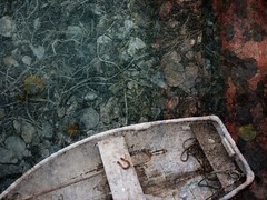 little fishing boat (emily_hughes) Tags: sea seascape digital boat rocks photograph lichen ropes fishingboat lymeregis layering compositeimage