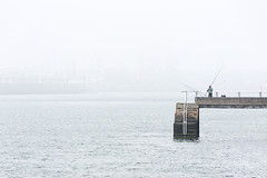 fisherman fishing on a dock (Mimadeo) Tags: morning sea mist fish man male water silhouette sport misty fog stairs pier fishing fisherman dock haze outdoor space foggy peaceful calm silence catch leisure recreation copyspace copy tranquil portugalete basquecountry patience retire getxo nervion