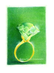 2014_06_13_ring_01_s (blue_belta) Tags: green art illustration drawing jewelry ring emerald    gem coloredpencil colorpencil  gemstone