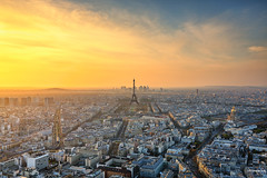 Sunshine ballet... (Charlie_Joe) Tags: travel sunset paris france rooftop skyline architecture clouds cityscape tour cathedral eiffeltower wideangle aerial montparnasse hdr ironlady ladamedefer