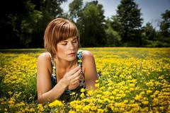 Leah_20140720_090 (falconn67) Tags: park flowers summer portrait woman sun field yellow canon redhead watertown reflector 24105l 5dmarkii