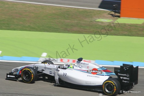 Felipe Massa in his Williams in Free Practice 2 at the 2014 German Grand Prix