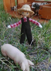 miniature farmer doll (wildflowertoys) Tags: woodentoys dollhousedolls toybarn bendydoll naturaltoys waldorftoys elvesandangels dollhousefamily toystable wildflowerinnocence