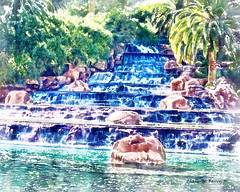 Digital Aquarelle Watercolor Painting of a Waterfall at the Mirage by Charles W. Bailey, Jr. (Charles W. Bailey, Jr., Digital Artist) Tags: usa art photomanipulation photoshop watercolor painting waterfall artwork lasvegas aquarelle nevada fineart digitalart visualarts mirage topaz digitalartist autopainter topazadjust dynamicautopainter topazdetail topazlenseffects charleswbailey charleswbaileyjr