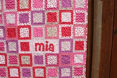 Baby Mia's Pink Quilt (Crazy Quilt Lena) Tags: pink baby girl crazy purple quilt heart handmade lena mia applique personalized 2014 may25