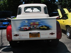 CUSTOM '51 CHEVY PICKUP (richie 59) Tags: summer people usa ny newyork chevrolet america truck outside us mural gm unitedstates pickup upstate upstateny chrome tailgate upstatenewyork newyorkstate oldtruck automobiles carshow 2tone taillights nys backend nystate generalmotors hudsonvalley twotone 2014 saugerties 2door motorvehicles oldchevytruck ulstercounty oldchevy twodoor 1951chevy americantruck antiquetruck midhudsonvalley truckchevy ulstercountyny saugertiesny gmtruck chevychevy ustruck 1951chevypickuptruck 2010s openhood 1951chevytruck advancedesign 1950struck sawyermotorscarshow truckcustom americanpickuptruck richie59 tantruck advancedesigntruck july2014 july62014