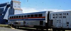 Amtrak Superliner Coach Coupled to a BN Refrigerator Car (BillMc6212) Tags: bn amtrak superliner