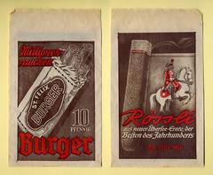 """Tütchen aus dem Tabakladen mit Werbung für """"Burger"""" und """"Rössli"""" Zigarren (altpapiersammler) Tags: old vintage bag advertising drawing alt ad grafik smoking lettering draw werbung brand schrift papier package verpackung tabak tabacco marke zeichnung rauchen artdesign tüte tütchen rauchware markenname werbegrafik schriftdesign zierschrift werbezeichnung"""