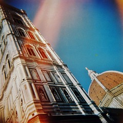Tower and light leak (sonofwalrus) Tags: holga film lomo lomography scan florence italy europe firenze italia cattedraledisantamariadelfiore dome building architecture cathedral xpro xprocessing