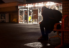 166-365 Waiting For The Bus - Photo a Day Project (johngarghan) Tags: 166365 photoaday 365project 365 smoking silhouette street streetphotography photography night shadows johngarghan