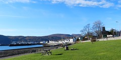 Welcome to Ullapool, West Coast of Scotland, Feb 2017 (allanmaciver) Tags: ullpaool west coast scotland town picnic harbour blue skies weather welcome walk enjoy admire sea loch broom trees low view pier ferry allanmaciver