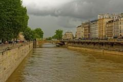Paris / Petit-Pont -  Cardinal Lustiger (Pantchoa) Tags: paris seine fleuve eau pont petitpont pontsaintmichel nuages arbres quai nikon d7100 24mmf18 pantchoa pantxoa