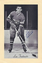 1944-63 Beehive Hockey Photo / Group II - LOU FONTINATO (Defenceman) (b. 20 Jan 1932 - d. 3 Jul 2016 at age 84) - Autographed Hockey Card (Montreal Canadiens) (#239) (Baseball Autographs Football Coins) Tags: hockey beehive 1934 1967 19341967 groupi groupii groupiii woodgrain torontomapleleafs bostonbruins newyorkrangers montrealcanadiens chicagoblackhawks detroitredwings montrealmaroons newyorkamericans card photos hockeycards brooklynamericans loufontinato defence defenceman
