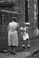 Hopscotch (Arvor Photography) Tags: 2017 arvorphotography bclm birmingham blackcountrylivingmuseum blackcountrytown darylhutchinson dudley hopscotch landscapephotography street timelineevents westmidlands cobbles girl houses industriallandscape mother openairmuseum streetgames streetlife