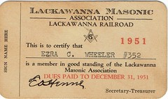 1951 Member Card, Lackawanna Railroad Masonic Association (Guy Clinch) Tags: mimi ephemera fraternal