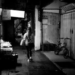 Nightwalker 3 (a.pierre4840) Tags: olympus omd em5 cmount schneider kreuznach xenon 25mm f095 nightshot handheld alley alleyway alleyways alleys backstreet bw blackandwhite monochrome noiretblanc pengchau hongkong squareformat 11 streetphotography