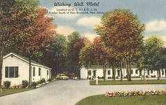 Wishing Well Motel - New Brunswick, New Jersey (The Cardboard America Archives) Tags: vintage xmarksthespot postcard newjersey 1951 linen motel