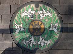 Kanmaki Nara, manhole cover 2 (奈良県上牧町のマンホール2) (MRSY) Tags: kanmaki nara japan manhole flower lily color 上牧町 奈良県 日本 マンホール 花 ユリ カラー