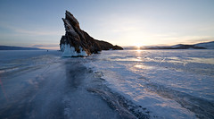 Sharman Rock (setoboonhong ( On and Off )) Tags: travel lake baikal okhlon island sharman rock sharmanism buryat natives indigenous sunrise frozen ice outdoor landscape cold snow southern siberia russia