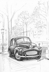 Morris Minor 1000 (Jeroenc71) Tags: pencil moleskine draw drawing car morris minor sketch sketchbook amsterdam street canal parking parked tree