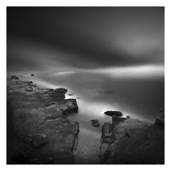 Seclusion (picturedevon.co.uk) Tags: exmouth beach devon england uk fineart bw bnw blackandwhite seascape abstract sqaure sea waves water rocks mono le longexposure nisi ndfilter coast sand canon grey picturedevon photography
