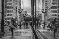 """Heautoscopy"" (R*Wozniak) Tags: reflection nikond750 nikon 35mm rain girl street streetportrait blackwhite bw blackandwhite urban candid weather mirror city monochrome"