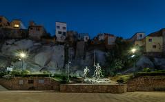 Don Quixote of Guanajuato City, Guanajuato state, Mexico (Maria_Globetrotter) Tags: dscf6924lr blue hour twilight night mexico mexiko statue unesco world heritage site