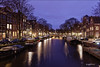 Brouwersgracht. (alamsterdam) Tags: holland noordholland amsterdam evening brouwersgracht architecture reflections bridge boats longexposure