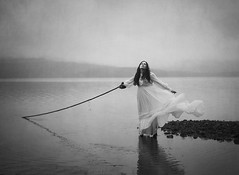 Under The Surface (Maren Klemp) Tags: fineartphotography fineartphotographer blackandwhite monochrome water ocean nature outdoors conceptual rope dress woman selfportrait portrait surreal dramatic ethereal fog foggy painterly dreamy reflection darkart