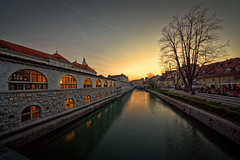 Ljubljanica banks after sunset (marko.erman) Tags: ljubljana ljubljanica slovenija slovenia bridge dragons concrete secession style architecture monument sunset sony uwa wide angle city travel popular reflections
