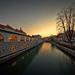 Ljubljanica banks after sunset