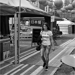 You're my favourite mistake (John Riper) Tags: johnriper street photography straatfotografie square vierkant bw black white zwartwit mono monochrome netherlands candid john riper canon 6d 24105 l stands hoogstraat woman girl t shirt balloons chinese oriental day nix18 isi