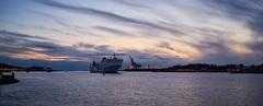 Ferry arrival, Gothenburg (Röda Sten). (stofil) Tags: stenaline sonya7ii sonya7m2 sonyzeiss35mm 35mm harbour gothenburg göteborg sunset ship rödasten älvsborgsbron pano panorama