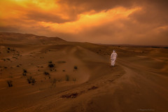 In the desert (Margarita Genkova) Tags: dubai desert sunset man canon nature sanddunes serenity tranquility