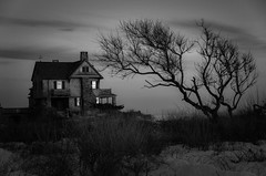 Anybody Home? [Explore Apr 11, 2017] (Bud in Wells, Maine) Tags: kennebunkport spring sunset tree winter bw monochrome maine coast offseason stonehouse