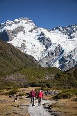 hiking to Mueller Glacier, New Zealand (Sitoo) Tags: alpssouthalps mountcook muellerglacier nz newzealand oceania famousplace glacier grandma grandpa hike hikkers mountain nature oldperson snow southisland touristdestination