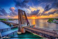Jupiter Florida Sunset Train Tracks at Drawbridge (Captain Kimo) Tags: drawbridge florida hdrphotography hdrsoftware jupiter loxahatcheeriver southflorida sunset traintrack