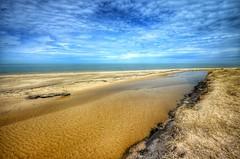 Flowing into the lake (mswan777) Tags: water stream sand beach dune shore seascape cloud sky landscape waves warren dunes bridgman lake michigan scenic nikon d5100 sigma 1020mm grass driftwood pattern