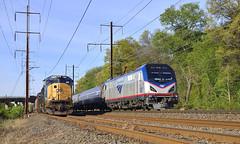 Passing Trains At Landover (DJ Witty) Tags: electric locomotive train rr railroad nikon d610 amtrak sd70ac csx nec acs64 citysprinter csxt