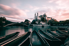 Aarburg (noberson) Tags: aarburg sunrise sun castle fort fortress switzerland schweiz longexposure clouds boats
