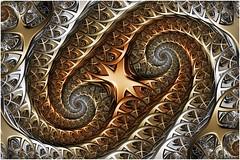 Dual Paths (Ross Hilbert) Tags: fractalsciencekit fractalgenerator fractalsoftware fractalapplication fractalart algorithmicart generativeart computerart mathart digitalart abstractart fractal chaos art mandelbrotset juliaset mandelbrot julia orbittrap metal sculpture spiral copper brass steel
